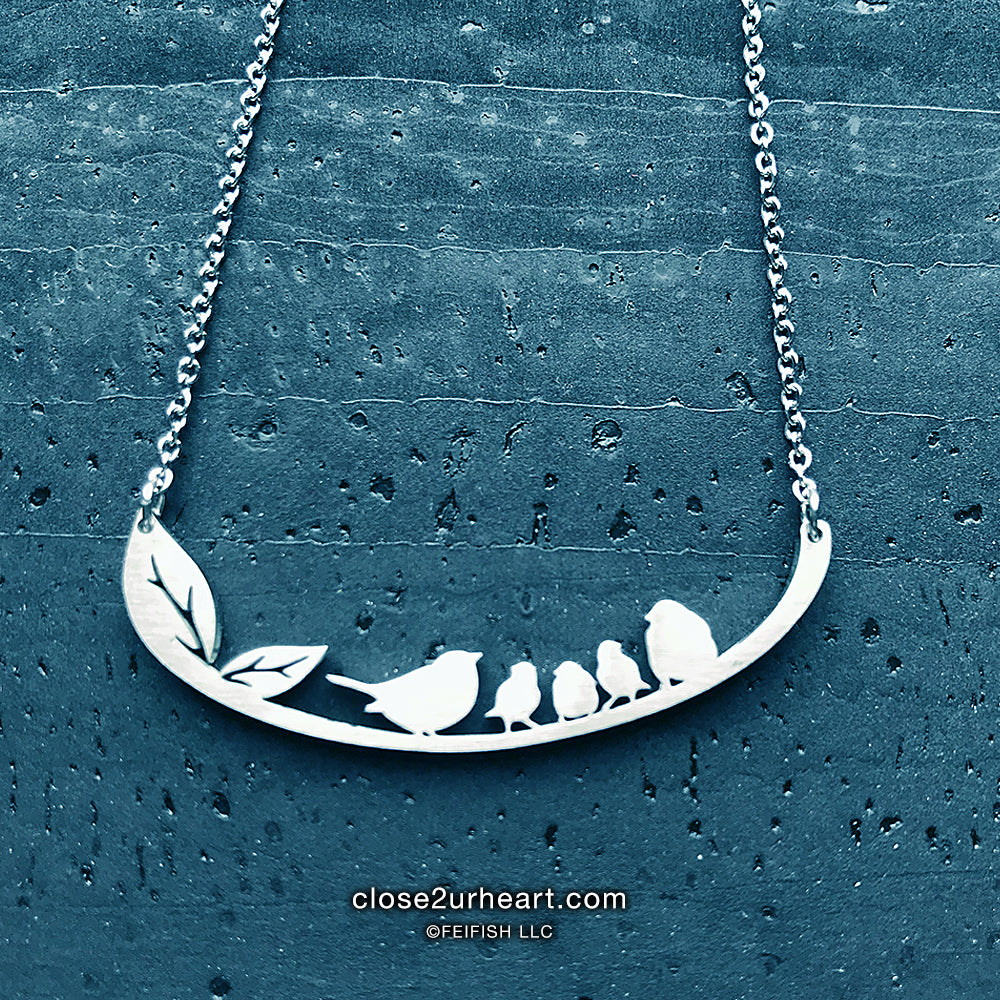 Family of 5 Birds Necklace