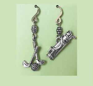Golf Clubs and Bag Earrings