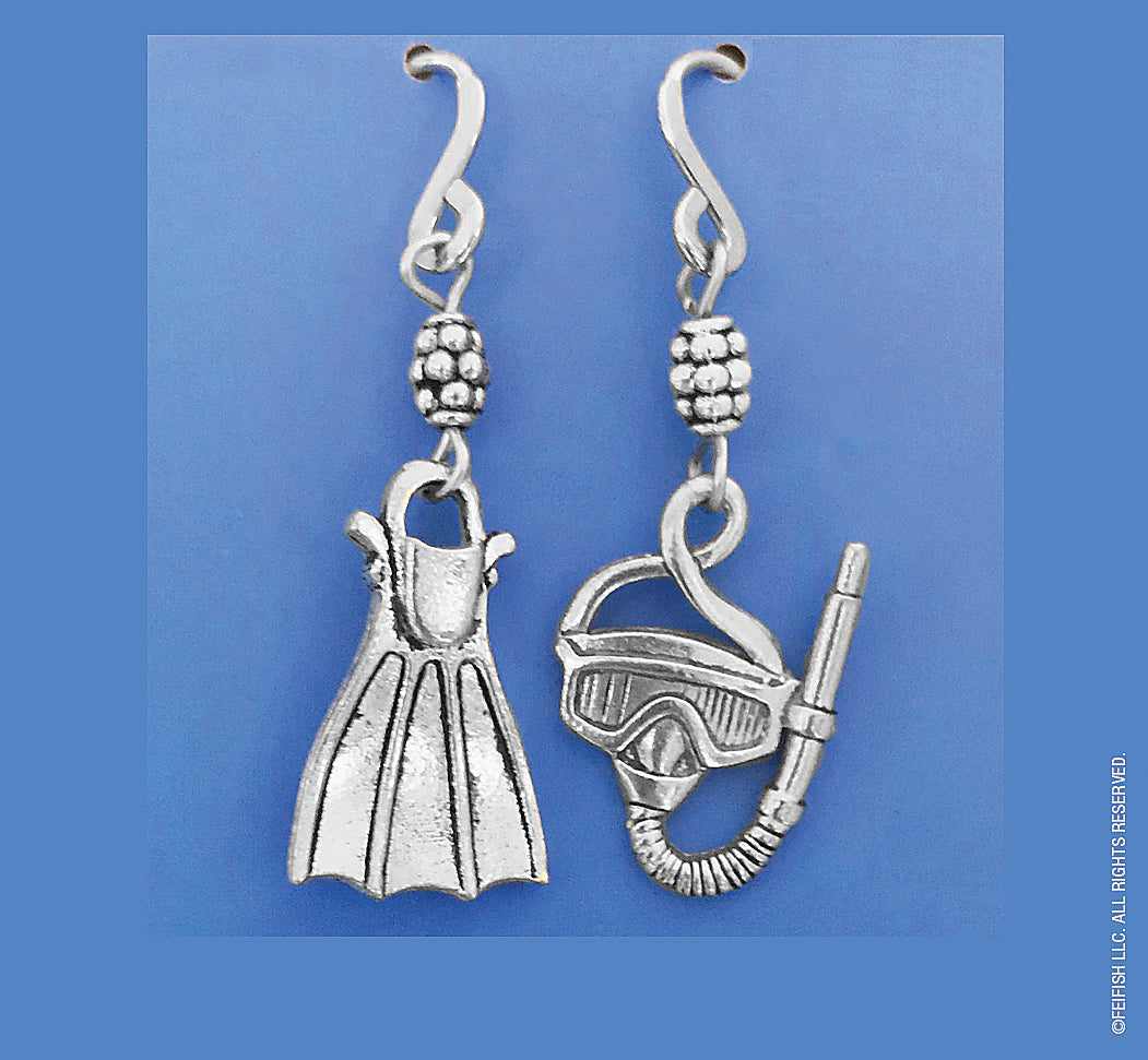 Snorkel Mask and Fin Earrings