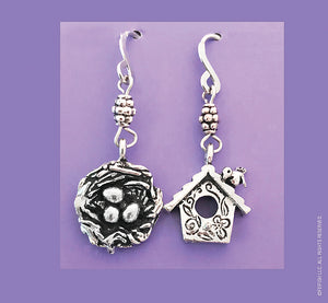 Bird Nest and Bird House Earrings