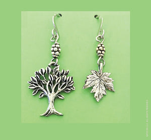 Maple Tree and Leaf Earrings