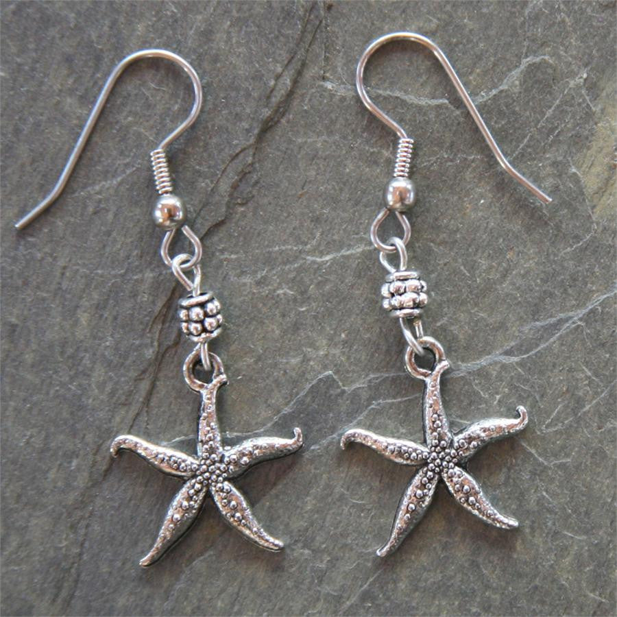 Pewter Sea Star Earrings, Starfish Earrings