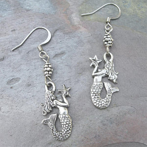 Pewter Mermaid with Starfish Earrings