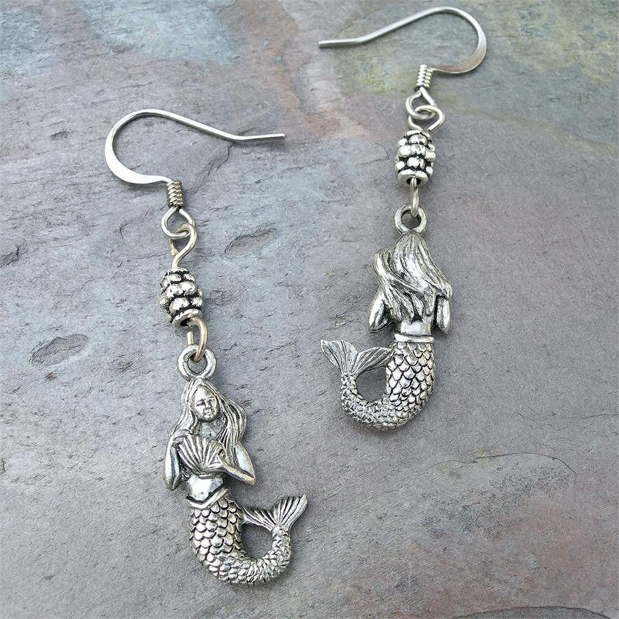 Pewter Mermaid with Shell Earrings