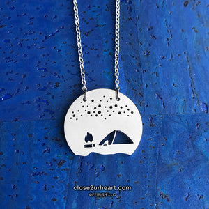 Camp Fire and Tent Necklace