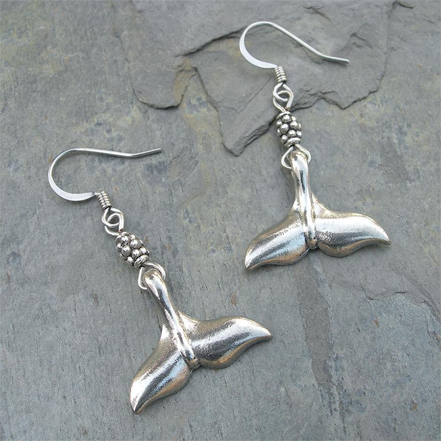 Pewter Whale Tail Earrings