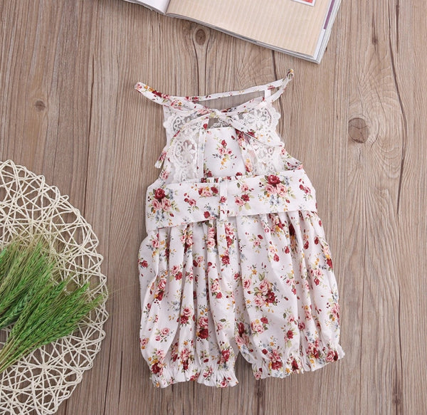 Floral lace playsuit with head wrap (2T size left)
