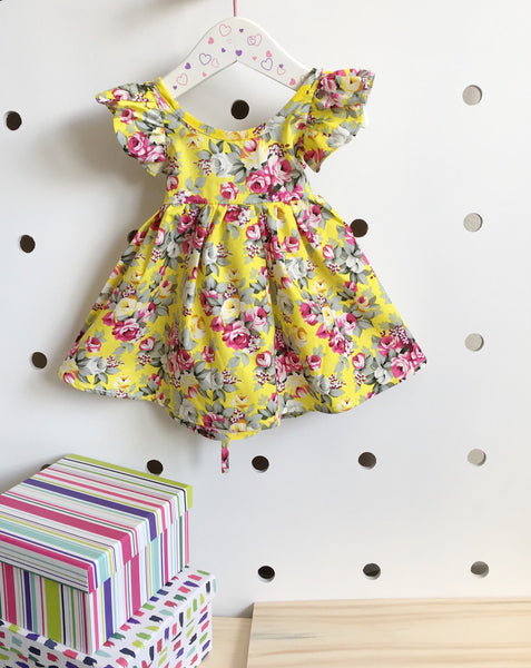 """Amber"" floral yellow dress"