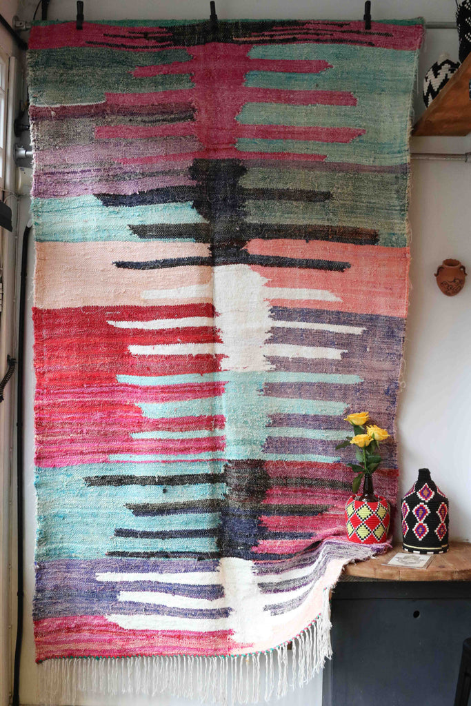 BOUCHEROUITE RUG  (240CM BY 140CM) HAND RECYCLED IN MOROCCO - House of Morocco