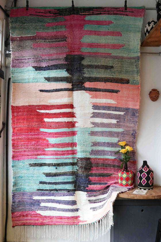 BOUCHEROUITE RUG  (240CM BY 140CM) HAND RECYCLED IN MOROCCO