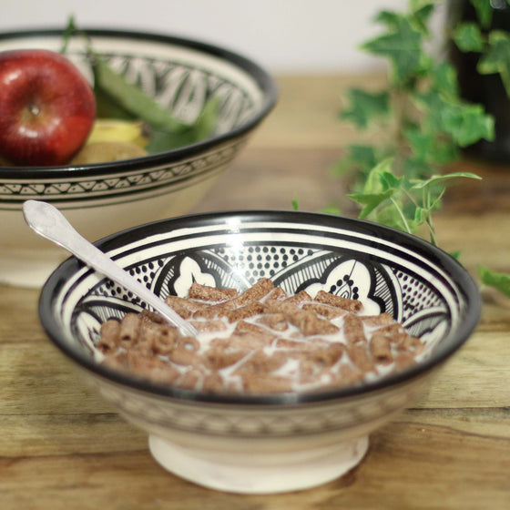 Safi Classic Serving Bowl, Black Small - House of Morocco