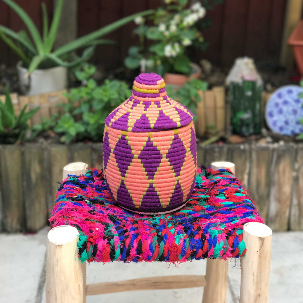 Hand Made Moroccan Wool & Wicker Basket - POT101 - House of Morocco