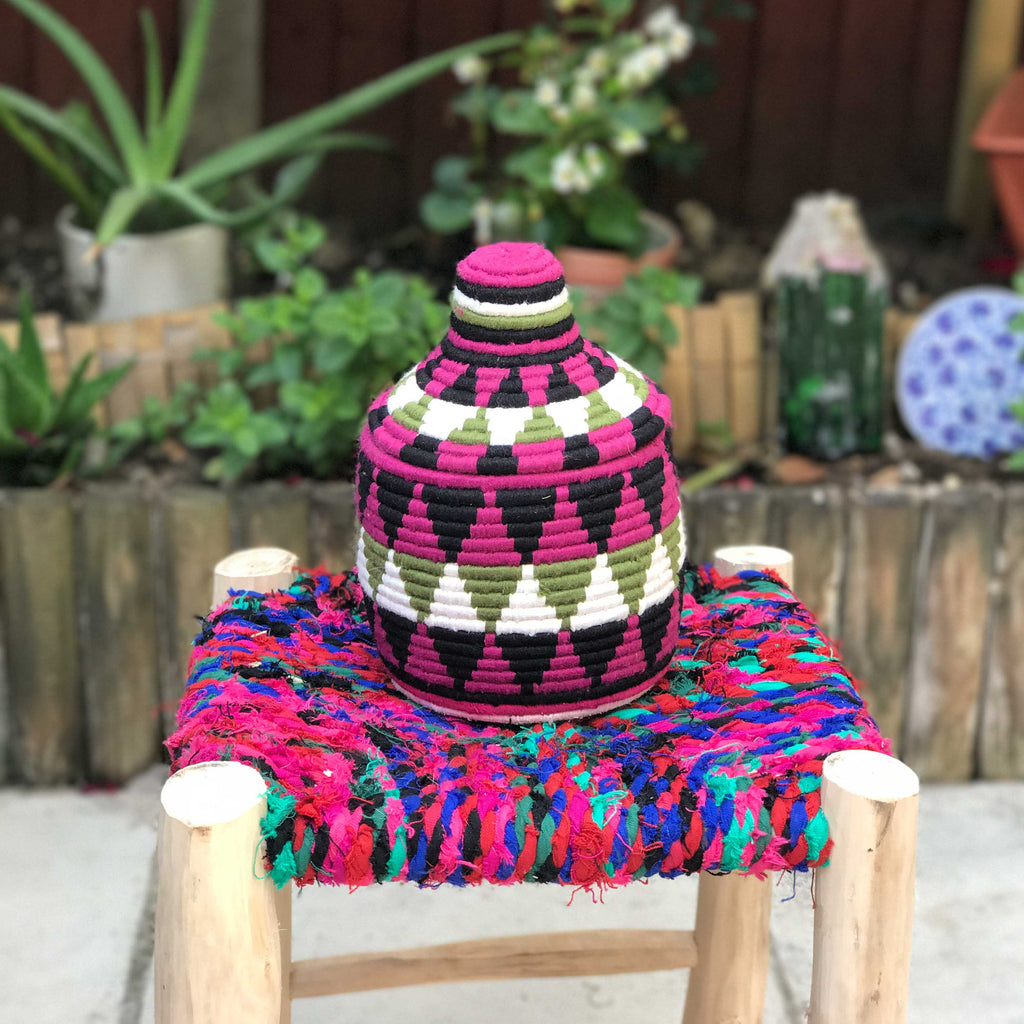 Hand Made Moroccan Wool & Wicker Basket - POT102 - House of Morocco
