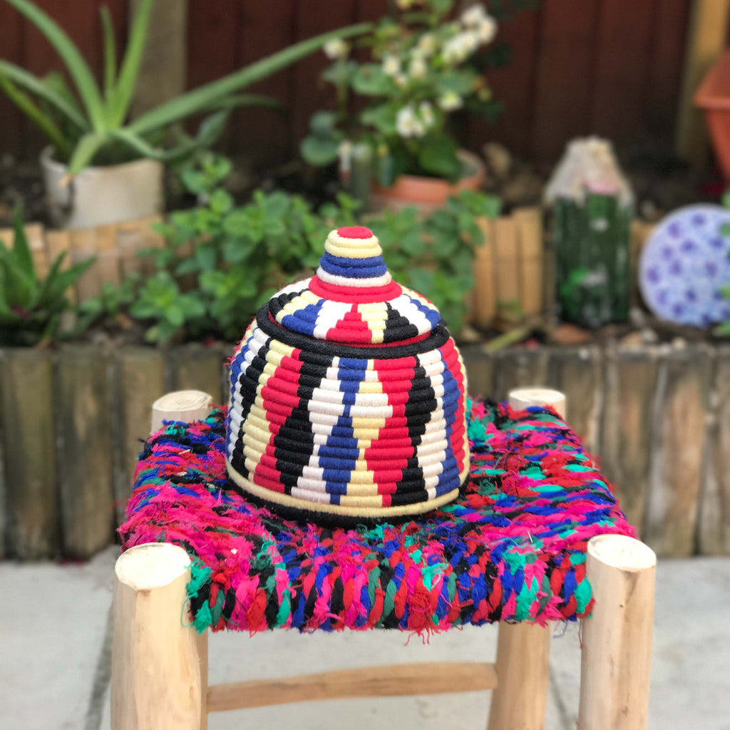 Hand Made Moroccan Wool & Wicker Basket - POT105 - House of Morocco