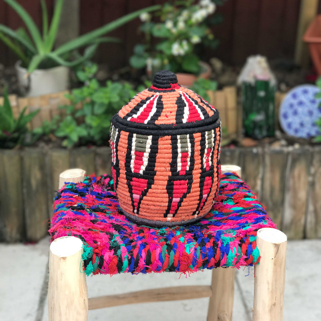 Hand Made Moroccan Wool & Wicker Basket - POT131 - House of Morocco