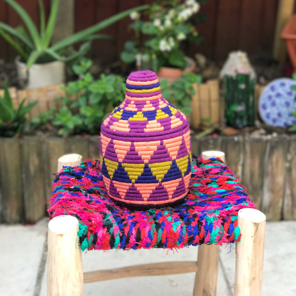 Hand Made Moroccan Wool & Wicker Basket - POT135 - House of Morocco