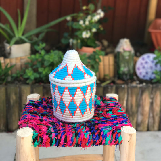 Hand Made Moroccan Wool & Wicker Basket - POT044 - House of Morocco