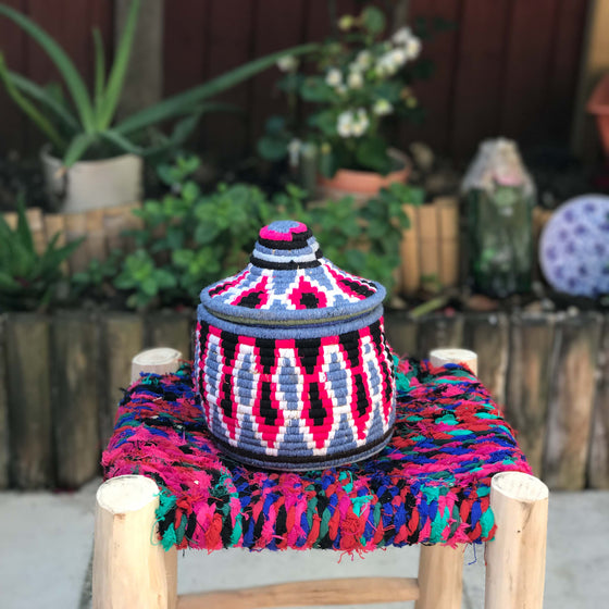 Hand Made Moroccan Wool & Wicker Basket - POT047