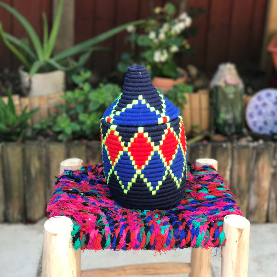 Hand Made Moroccan Wool & Wicker Basket - POT049 - House of Morocco