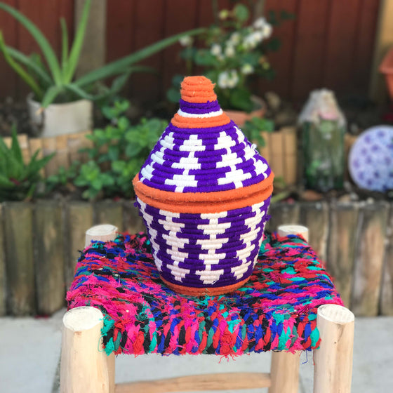 Hand Made Moroccan Wool & Wicker Basket - POT051