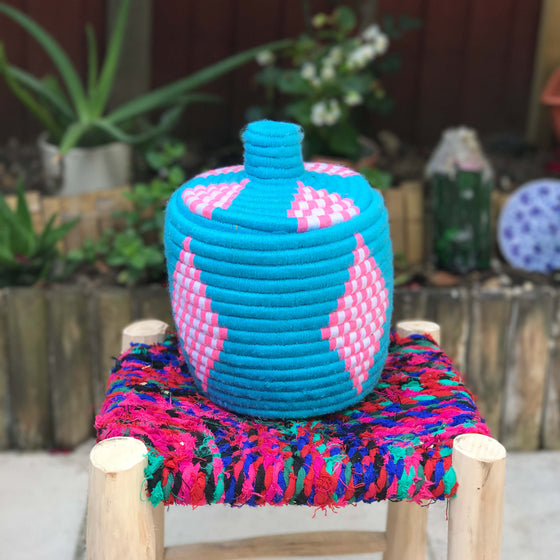 Hand Made Moroccan Wool & Wicker Basket - POT053 - House of Morocco