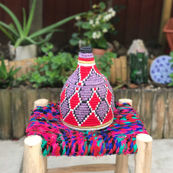 Hand Made Moroccan Wool & Wicker Basket - POT057 - House of Morocco