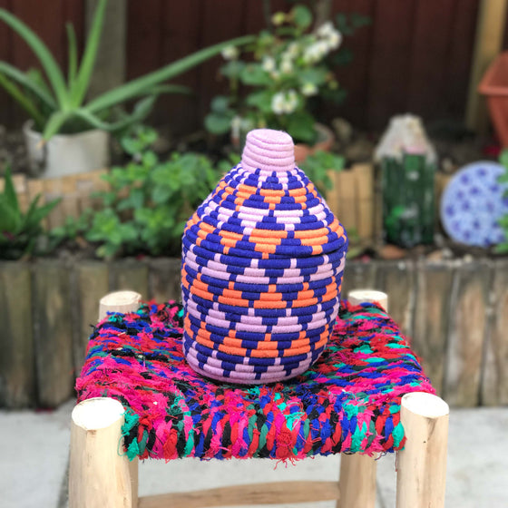 Hand Made Moroccan Wool & Wicker Basket - POT062