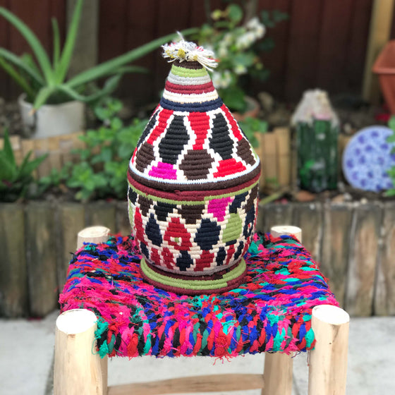 Hand Made Moroccan Wool & Wicker Basket - POT063 - House of Morocco