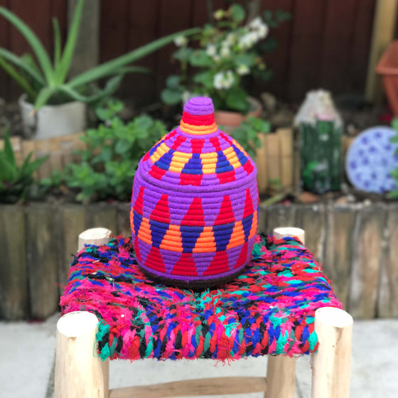 Hand Made Moroccan Wool & Wicker Basket - POT065 - House of Morocco
