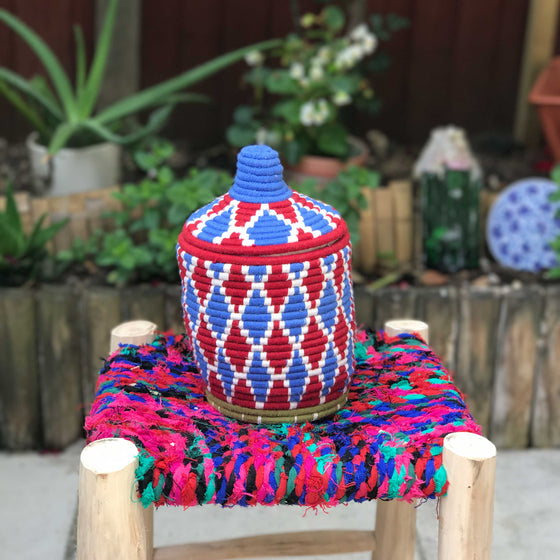 Hand Made Moroccan Wool & Wicker Basket - POT067 - House of Morocco