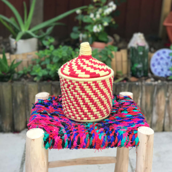 Hand Made Moroccan Wool & Wicker Basket - POT077 - House of Morocco