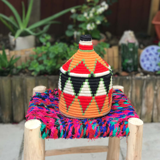 Hand Made Moroccan Wool & Wicker Basket - POT078 - House of Morocco