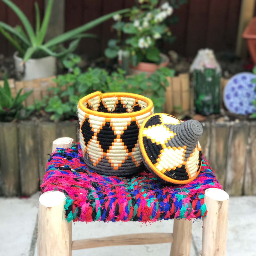 Hand Made Moroccan Wool & Wicker Basket - POT079 - House of Morocco