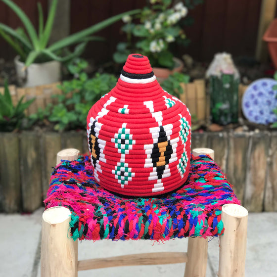 Hand Made Moroccan Wool & Wicker Basket - POT080 - House of Morocco