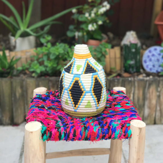 Hand Made Moroccan Wool & Wicker Basket - POT084 - House of Morocco