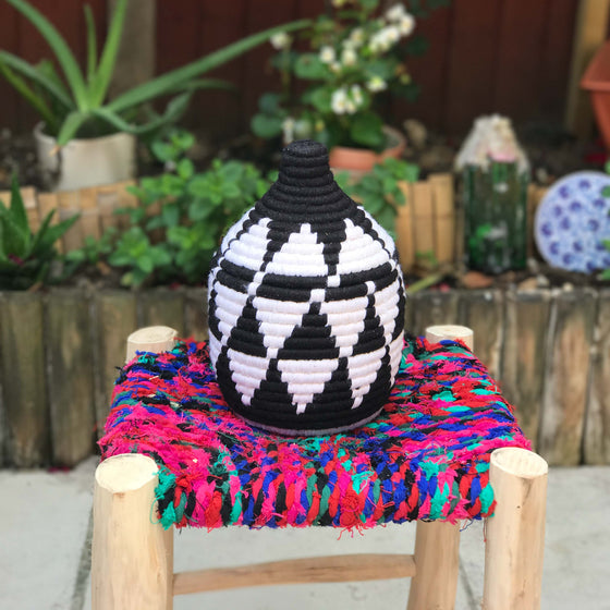 Hand Made Moroccan Wool & Wicker Basket - POT089 - House of Morocco
