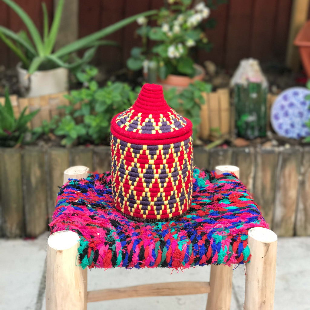 Hand Made Moroccan Wool & Wicker Basket - POT093 - House of Morocco