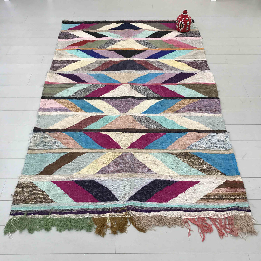 Hand Made Moroccan Authentic Boucherouite Rug - RUG011 - House of Morocco