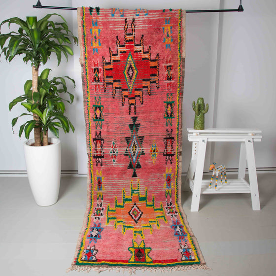 Hand Made Moroccan 100% Wool Faded Pink 1970's Vintage Boujad Rug - RUG010 - House of Morocco