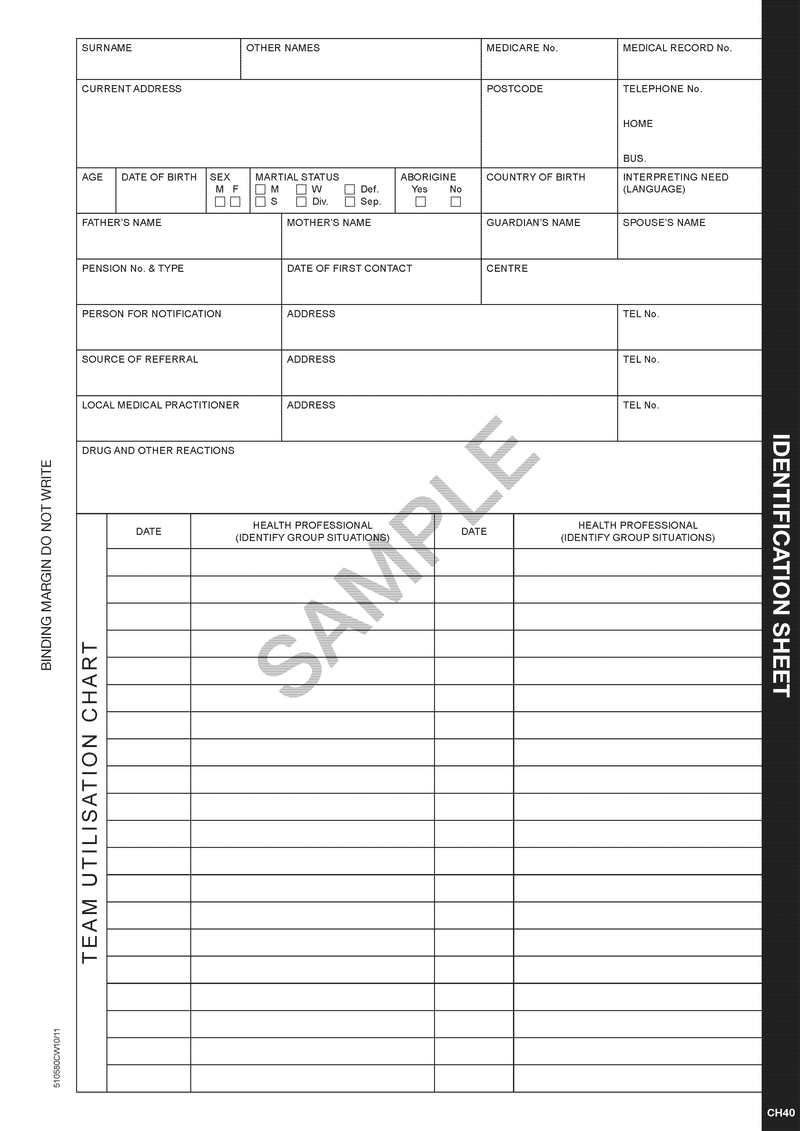 510580 - Identification Sheet (DISCONTINUED)