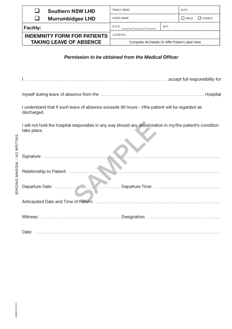 510585 - Indemnity Form for Patients Taking Leave of Absence