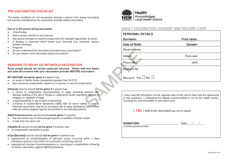 510702 - Adult Vaccination Consent and Record Card