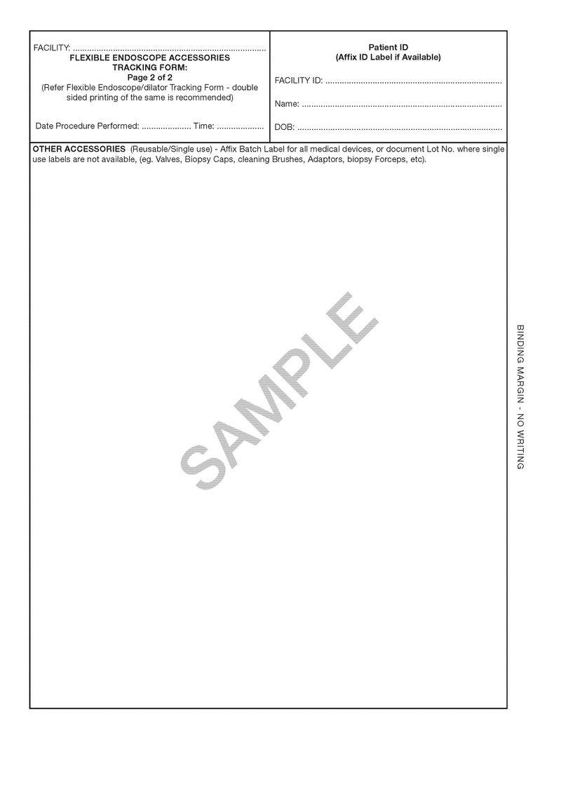 510816 - Flexible Endoscope Tracking Chart Steris System 1