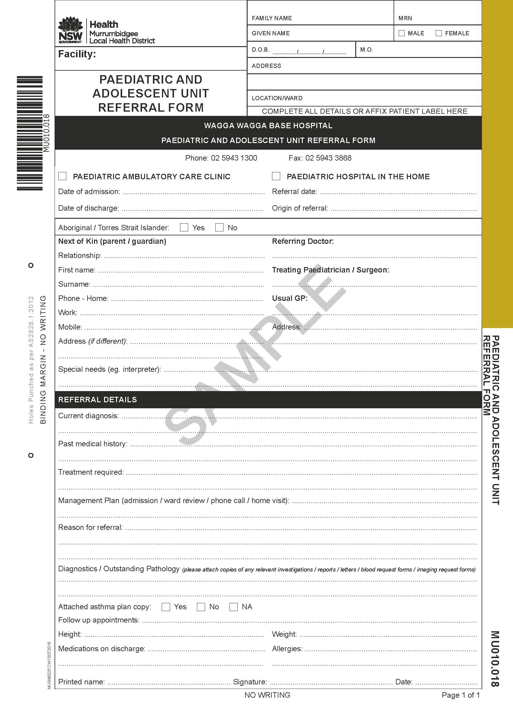 MU010.018 - Paediatric and Adolescent Unit Referral Form