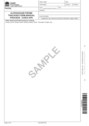 MU090.011 - Ultrasound Probe Tracking Form Manual Process - Cidex OPA