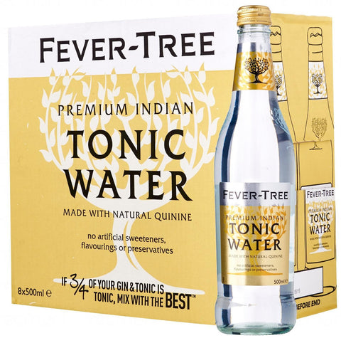 Fever-Tree Premium Indian Tonic Water Bottles 500mL - Case of 8