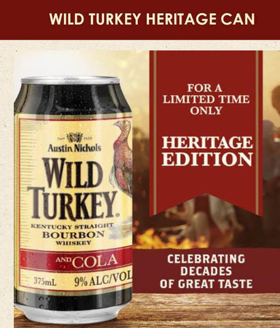 Wild Turkey Heritage & Cola Cans 9% 24 x 375ml