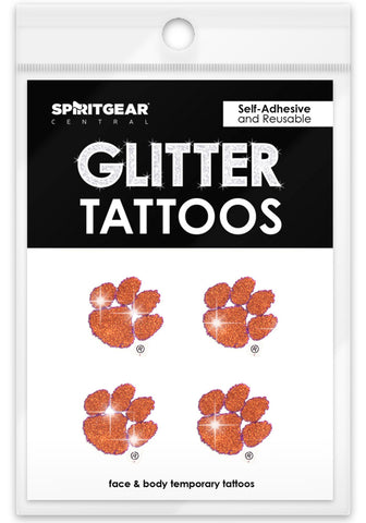 Clemson Tigers Glitter Tattoos 4 Pack
