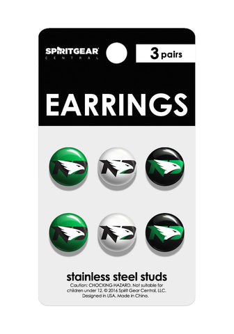 North Dakota Fighting Hawks Stud Earrings - Spirit Gear Central