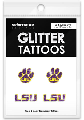 LSU Tigers Glitter Tattoos 4 Pack